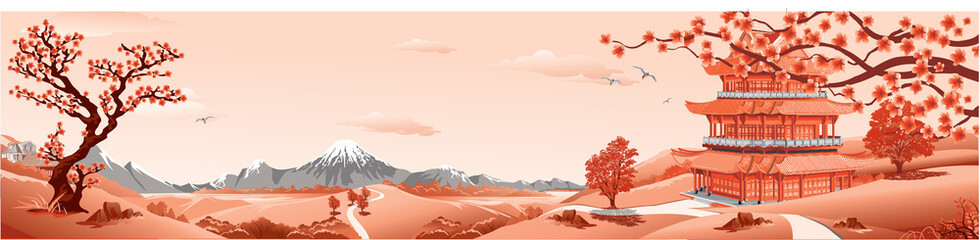 Panorama of nature, Asia Palace, volcano, mountains, rivers, and hills with trees. The Sakura flowers. Vector illustration