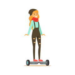 Girl In Dungarees And Scarf Riding Electric Self-Balancing Battery Powered Personal Electric Scooter Cartoon Character