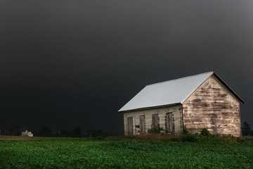Black stormy sky in the countryside