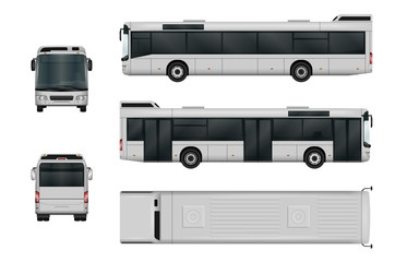 City bus vector template. The ability to easily change the color. All sides in groups on separate layers. View from side, back, front and top.