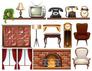 Different vintage objects on white background