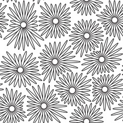 Seamless floral background with white and black color
