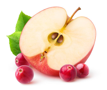 Isolated apple and cranberries. Half of red apple fruit and fresh cranberries isolated on white background with clipping path