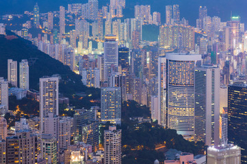 Hong Kong city residence area at night