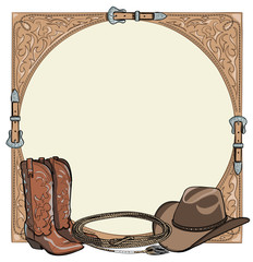 Cowboy horse equine riding tack tool in the western leather belt frame. Western boot, hat, lasso rope. Hand drawing cartoon vector background