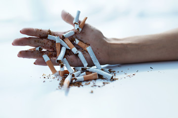 Closeup Of Female Hand Holding Cigarettes. Quit Smoking