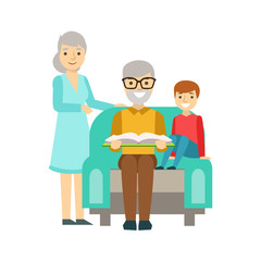 Grandparents And Boy Reading A Book, Happy Family Having Good Time Together Illustration