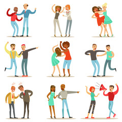 People Fighting And Quarrelling Making A Loud Public Scandal Collection Of Cartoon Characters Aggressive And Violent Behavior Illustrations