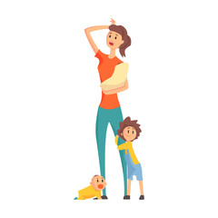 Mother With A Baby In Arms With Two Other Children Next To Her Legs,Part Of Family Members Series Of Cartoon Characters