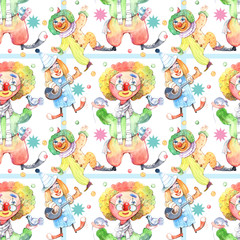 Seamless pattern. Funny clown, watercolor,