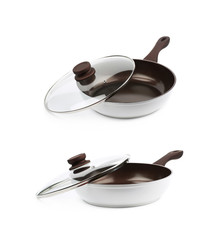 Brown frying pan isolated