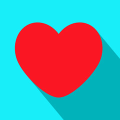 Flat heart shadow icon