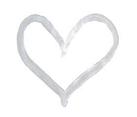 The outline of the pale grey heart drawn with paint on white background