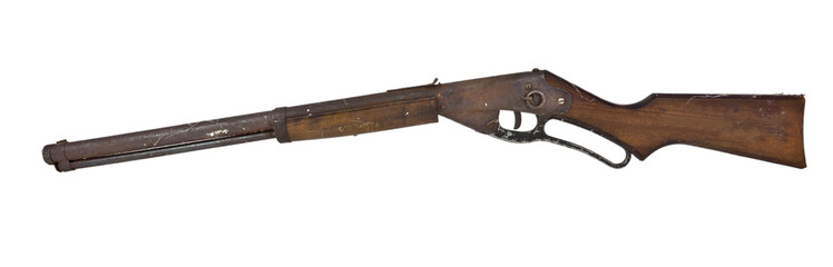 Vintage rusty bb rifle. Isolated.