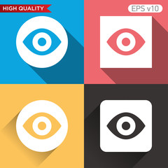 Colored icon or button of eye symbol with background