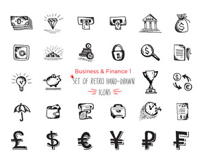 Hand-drawn sketch finance web icon set - economy, money, , payments