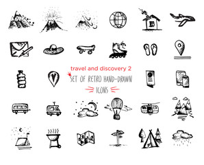 Hand-drawn sketch Travel and vacation icon collection