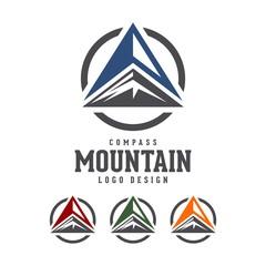 Compass Mountain Vector Logo Design