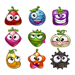 Funny cartoon fruit and berry characters set.