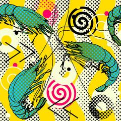 Shrimps. Seamless pattern background. Shrimps hand-drawn sketch