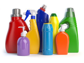 Detergent bottles or containers. Cleaning supplies isolated on w