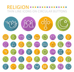 Set of 45 Elegant Universal White Religion Minimalistic Thin Line Icons on Circular Colored Buttons on White Background.