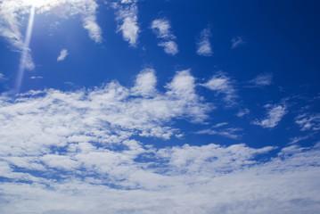summer landscape, blue sky, cumulus clouds, nature, weather phenomena
