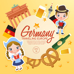 Traveling Europe : Germany Tourist Attractions : Vector Illustration