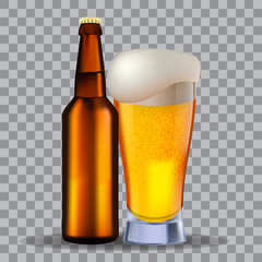 Glass and a brown bottle of beer isolated on transparency grid, for design and branding. Stock vector illustration.