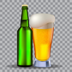 Glass and a green bottle of beer isolated on transparency grid, for design and branding. Stock vector illustration.