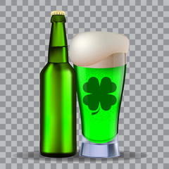 Glass and a brown bottle of beer isolated on transparency grid. Stock vector illustration. Green beer on st Patrick's Day.