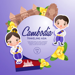 Traveling Asia : Cambodia Tourist Attractions : Vector Illustration