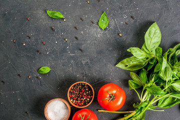 Cooking background. Kitchen table with spices (salt and pepper), mozzarella, tomatoes and fresh basil, top view, copy space