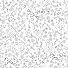 Abstract floral seamless pattern hand drawn outline on white bac