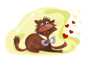 Valentine cat. Illustration. Card.