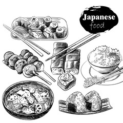 Set of hand drawn Japanese food isolated on white background. Japanese food sketch elements. Retro hand-drawn sushi with chopsticks vector illustration. Great for poster, banner, voucher, coupon.