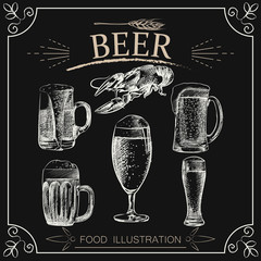 Set of hand drawn beer isolated on chalkboard. Beer sketch elements. Retro hand-drawn vector illustration. Great for poster, banner, voucher, coupon.