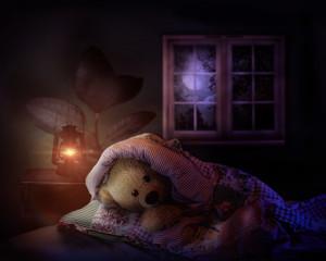 teddy bear in bed.