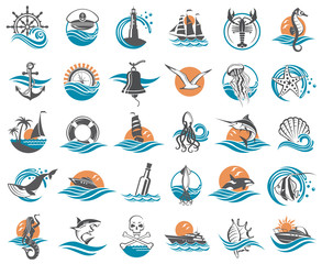 nautical collection of design elements with ships, lighthouse, anchor, helm, lifebuoy, compass and sea life