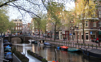 Beautiful view of Amsterdam canals, Netherlands