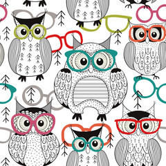seamless pattern owls with glasses- vector illustration, eps