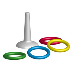 Game throwing rings toys in 3D, vector