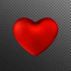 Red heart isolated on transparent background. Happy Valentine's day greeting card. Vector illustration.