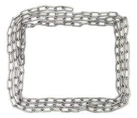 Chain frame isolated on white background. Metal border isolated on white background. Wrapped chain in frame shape on white backgorund. Steel chain frame. Thin chain frame