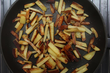 Fried potatoes on a skillet