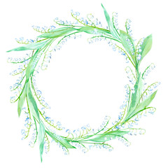 Floral wreath.Garland with Lily of the valley. Watercolor hand drawn illustration.It can be used for greeting cards, posters, wedding cards.