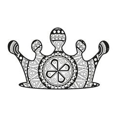 Vector illustration of a crown mandala for coloring book, corona mandala vettoriale da colorare