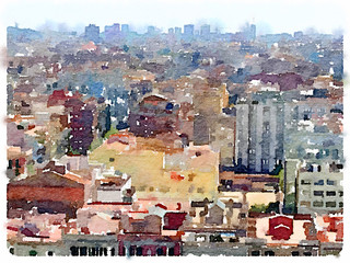 Digital watercolor painting of the skyline in Barcelona Spain showing tall colorful buildings.