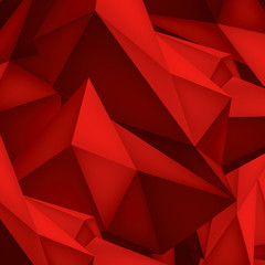 Volume geometric shape, 3d crystal red background, abstraction low polygons object, vector design form