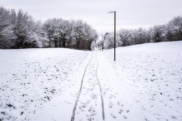 Bike path covered by snow in UK winter in Milton Keynes 2